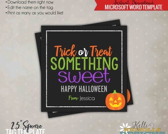 Printable Trick or Treat Something Sweet Tag, Jack-o-Lantern, Halloween Candy Bag Tag, Printable Instant Download