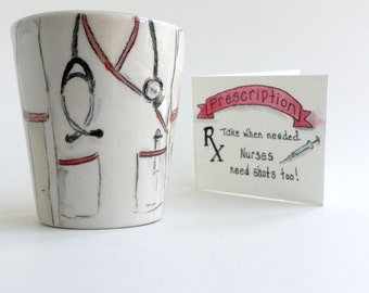 Personalized nursing school graduation gift rn nurse ceramic shot glasses by Cathie Carlson
