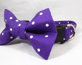 Purple Cat Collar, Breakaway Cat Collar, Polka Dot Cat Collar, Kitten Collar, pick collar flower or Bow tie, Spring Cat Collar