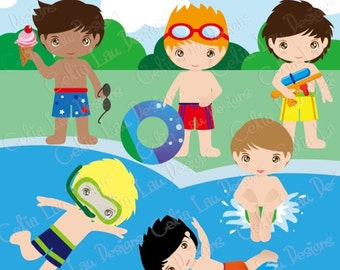 Pool Party Clipart, Cute Summer Boy clipart (CG028)/ for Personal and Commercial Use /Scrapbooking/ INSTANT DOWNLOAD