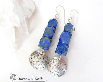 Lapis Sterling Silver Earrings, Faceted Lapis Earrings, Lapis Lazuli Jewelry, Blue Earrings Silver, Handmade Sterling Jewelry, Silver Drop