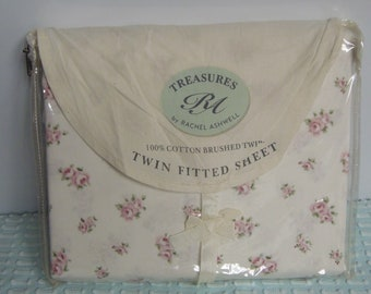 Pink Rosebud Sheet Treasures by Rachel Ashwell 1980's New Old Stock Twill Cotton Fabulous Pink Roses Rosebuds