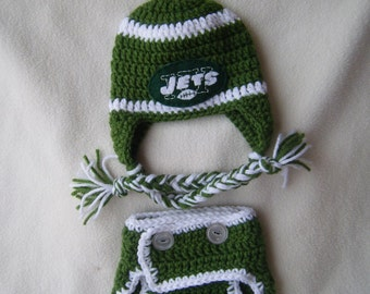 Crocheted Jets  Inspired Hat & Diaper Cover Team Colors (Or Choose Another Team) These Are Made to Order