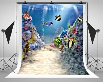 Newborn Baby Underwater World Photography Backdrops Colorful Fish Photo Backgrounds for Children Studio Props CM-S-1957