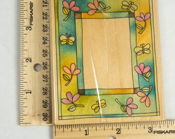 Butterfly Frame Wood Mounted Rubber Stamp l26045