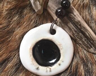 Black Eye * ceramic pendant, glass