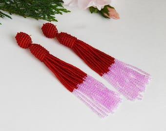 Tassel earrings Oscar de La Renta Dangle earrings Red earrings Pink earrings Beaded earrings  long earrings  gift for her Beaded jewelry