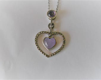 Silver Heart Shaped Pendant with Amethyst Heart
