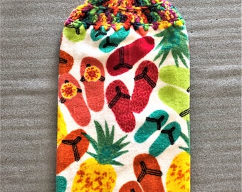 FLIP FLOPS And PINEAPPLES Extra Thick Double Layer Crochet towel, hanging towel, decorative towel, flip flop lover gift, #flip flop, rainbow