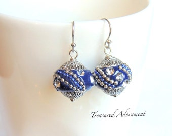 READY to SHIP, Navy Earrings, Navy Kashmiri Beads Earrings, Thank you gift, Holiday gift、Gift for Teacher, Holiday earrings, Xmas gift