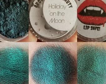 Holiday on the Moon - blackened blue vegan eyeshadow