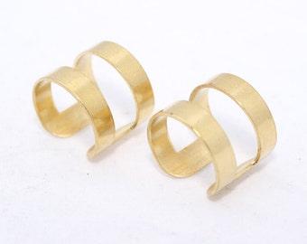 20 Pcs Raw Brass Adjustable Ring Setting - 16mm (21 Gauge) Chevron Ring -Adjustable Ring - LA7