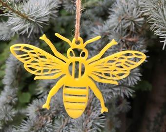 Yellow Geometric Bee | Acrylic | Perspex | Plastic | Laser Cut | Christmas | Tree Decoration | Ornament | Ornaments