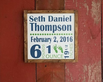 Wood sign | custom baby stats | 13in x 13in | handpainted