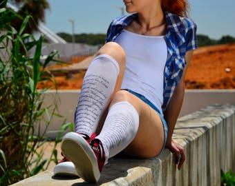 Pride and Prejudice Text Socks, Opaque Printed Knee High, Nylon Socks, Text Stockings