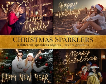 """Sparklers photo overlays """"Christmas Sparklers"""",  christmas photo overlays, digital holiday photo overlays for Photoshop"""