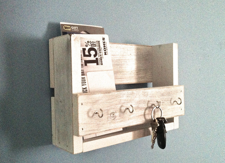 Rustic key holder mail organizer white key holder - Mail box porta romana ...