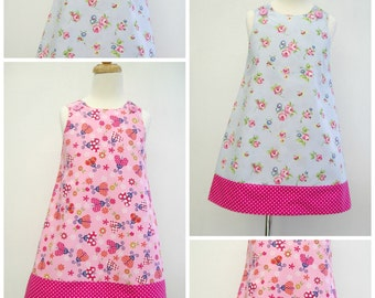 Girls Reversible Dress, Girls Pinafore, Girls Dress A line Pinny, Summer Dress, Sleeveless Dress, Kids Clothing, Jumper, Toddler, Floral