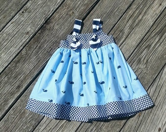 Girls Whale Dress - Girls Spring Dress - Whales - Sundress -  Nautical Dress -Beach Dress - Birthday Dress - Groovy Gurlz