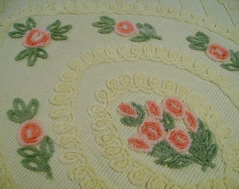 vintage chenille bedspread chenille bedspread yellow with pink posies