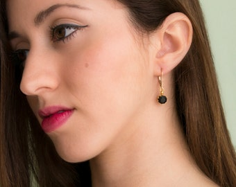 Crystal Earrings - Gold Filled Errings - Gold Crystal Earrings - Bridesmaid Earrings - Bridesmaid Jewelry - Classic Earrings - Minimal