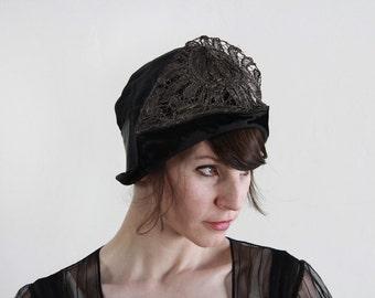 ON HOLD Antique Cloche . Flapper Hat . Metallic . Satin . Velvet 1920s