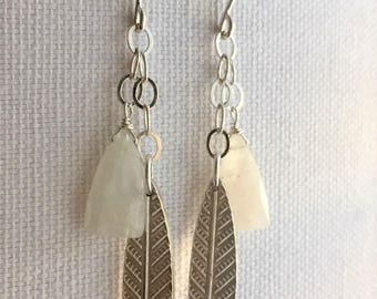 Windchime, Rainbow Moonstone, Fine Silver, Sterling Silver Earrings, erinelizabeth