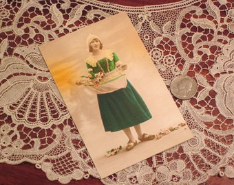 Antique Edwardian Postcard Dutch Girl