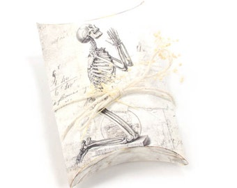 Halloween Pillow Box Skeleton Printable Halloween Favor Box Vintage Digital Collage Instant Download