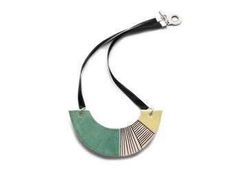 Turquoise statement necklace, chunky ceramic necklace, geometric jewelry, fashion jewellery