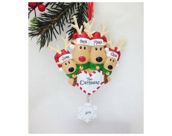 4 Reindeer with Heart and Snowflake Personalized Christmas Ornament / Family of 4 Ornament / Custom / Hand Personalized Names