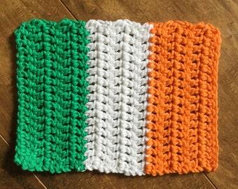 Irish Flag Hot Pad, Trivet, 100% Cotton, Handmade, Crochet