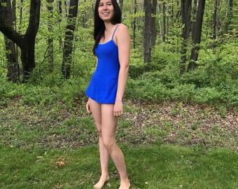 Cobalt Blue One Piece Swim Suit with Mini Skirt