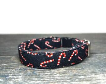 Candy Cane Cat Collar, Christmas Cat Collar, Holiday Cat Collar, Kitten Collar, Kitty Collar, Breakaway Collar, Christmas Collar for Cats
