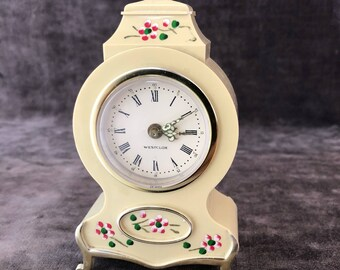 Vintage miniature French provincial Westclox armoire cabinet alarm clock 'as is' needs repair