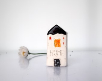 Miniature HOME house, Glossy glaze little Clay House - Handmade ceramics white house with black roof and door, pottery miniature