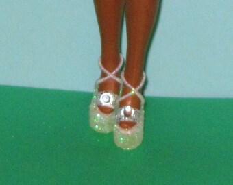 Dawn Pippa shoes WHITE GEM shoes for Dawn, Pippa, Rockflowers, Triki Miki, six inch fashion dolls, high heel doll shoes, fashion doll shoes