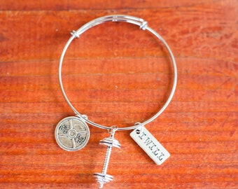 """Stainless Steel Adjustable """"I Will"""" Weightlifting Bangle Bracelet"""