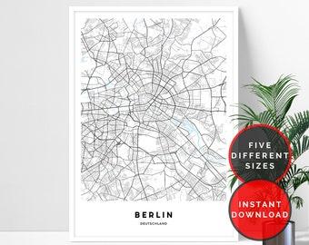 Berlin Map Print, Berlin City Map Printable Wall Art, Map Of Berlin Wall Art Prints, Berlin Street Map Print, Berlin Poster Digital Download