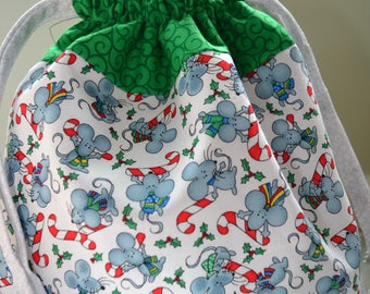 Fabric lined drawstring bag-Holiday Peppermint Candy Cane Mice