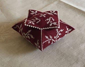 Claret Pagoda Pincushion - Cross Stitch Pattern
