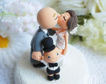 Custom Cake Topper- Couple with a baby
