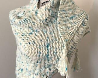 100% wool blue sprinkle hand-knit shawl