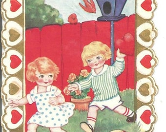 1930s Valentine Card Boy and Girl Playing Reversible Card Vintage Valentine's Day Card Valentine Ephemera Vintage Greeting Card