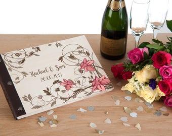 Wedding Photo Album, Photo Album, Wedding Guestbook, Wedding Guest Book, Wedding Album, Scrapbook Album, Wedding Memory Book, Pink Flowers
