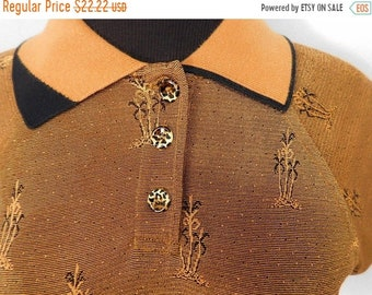 50s Vibe Copper Shimmer Rockabilly Polo Top Palm Tree Leopard Button Hot Rod S M