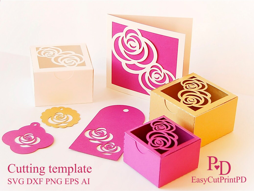 Rose Gift set Favors box card and 3 tags template Studio