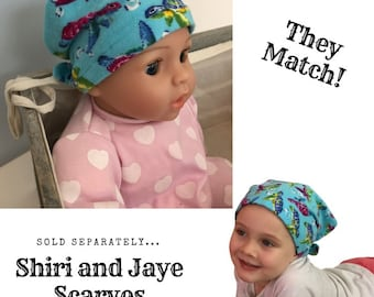 Shiri Children's Doll Head Scarf - Matching Doll Hat To Our Mia Scarf, Hat, Head Cover, Cancer, Chemo, Alopecia, Hair Loss, Blue Turtles