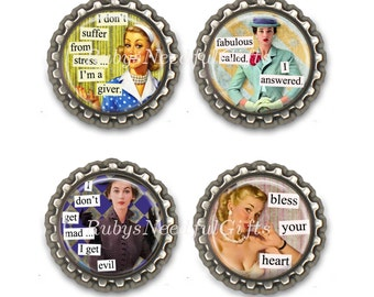 Retro Sassy Housewives Bottle Cap Magnets, Bottlecap magnets, Set of 4.