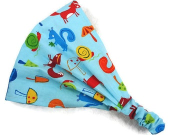 Baby boy headscarf, READY TO SHIP baby bandana 12-18M, baby girl hair wrap, wide headband, toddlers bandana animals foxes squirrels raccoons